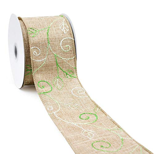 CT CRAFT LLC Natural Faux Jute with Green and White Leaves Wired Ribbon - 2.5 Inch x 10 Yards x 1Roll