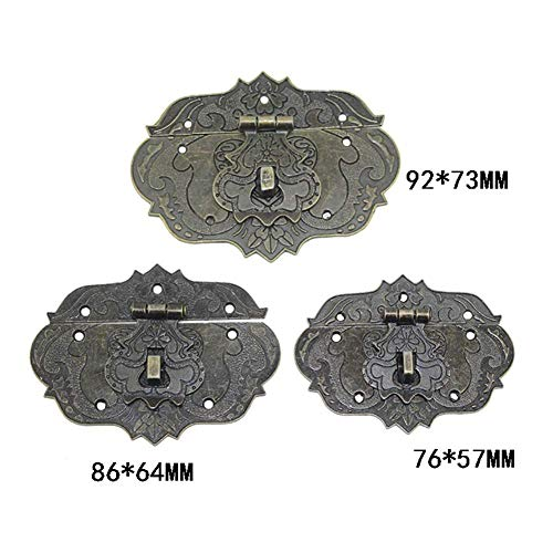 2 Sets Antique Clasp Hasps Latches Vintage Bronze Decorative Hook Locks with Screws for Crafting Wooden Cases Furniture Cabinet Cupboard Dresser Big (Length:3-1/4