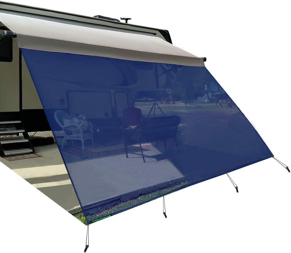 Navy BlueMesh Sun Shade ● Block Patio Front Sun Light ● Motorhome Camping Trailer UV Sunblocker ● Canopy Sunscreen-3 Years Lasting leaveshade RV Awning Sunshade Screen ● Tentproinc 7X123