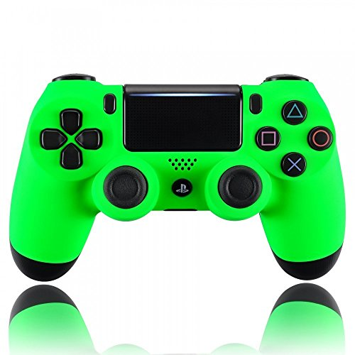 eXtremeRate Neon Green Soft Touch Grip Front Housing Shell Faceplate for Playstation 4 PS4 Slim PS4 Pro Controller (CUH-ZCT2 JDM-040 JDM-050 ()