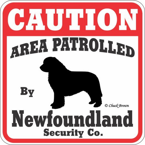 """Dog Yard Sign """"Caution Area Patrolled By Newfoundland Security Company"""""""