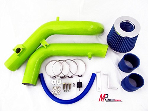 Hot 05 06 Scion tC 2.4L VVTi L4 Green Piping Cold Air Intake System Kit with Blue Filter