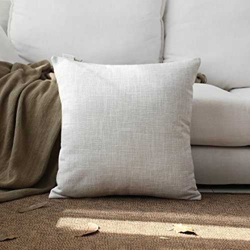 Bamboo Decorative Pillow (Kevin Textile Decor Lined Faux Linen Thick Euro Throw Cushion Pillow Covers Shams for Couch, Invisible Zipper, 45x45CM(Set of 1, Light Grey))