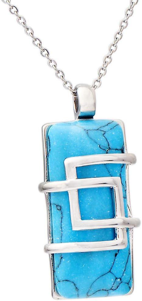 JMZDAW Collar Colgante Nueva Piedra Natural Turquesa Original Collar Colgante Hombres Y Mujeres Pareja Colgante
