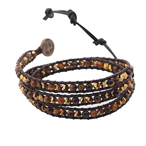 Genuine Leather Wrap Bracelet Bangle Cuff Rope Natural Stone Bead 3 Wrap Adjustable with Extra Free Gift MOJO JEWELRY (Gold and Amber) ()