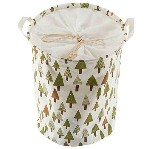 Foldable Laundry Hamper Basket Sealable for organizing baby clothes,toys (Green Tree) (Washington Basket)