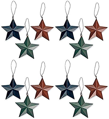 Fun Express ~ 12 Pack Rustic - Barn Star Christmas Tree Ornaments]()