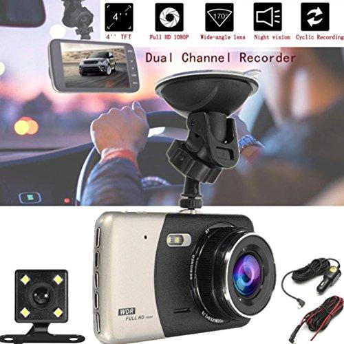 Dash Ss Lens - 1080P HD Car DVR Dual Lens Camera Video Recorder Rearview Dash Cam G-sensor (Gold)