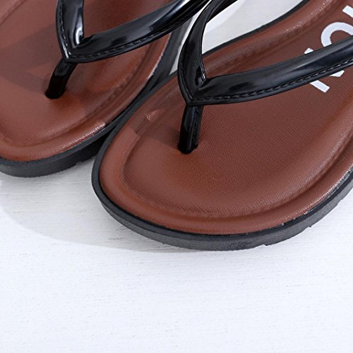 Rumas Dames Zomer Platte Sandalen Pantoffels Vrije Tijd Zachte Flip Flops Strand Pantoffel Zwart