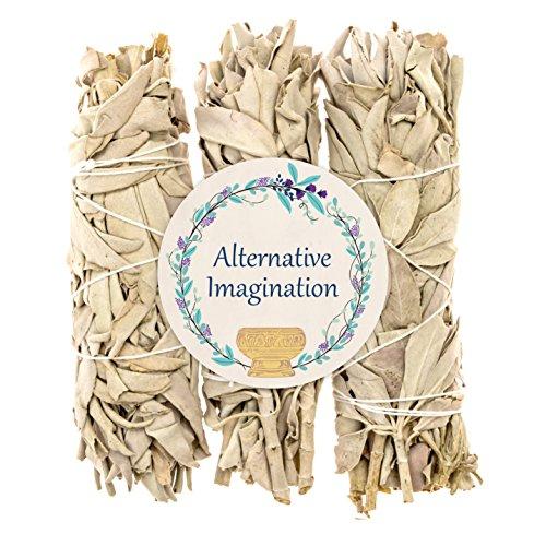 Alternative Imagination Premium California White Sage Smudge Sticks - 5 Inch Medium Sized - Package of 3