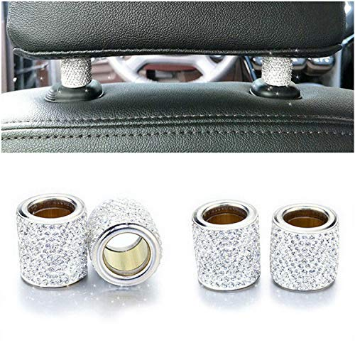 Car Headrest Collars,Car Head Rest Collars Rings Decor Bling Bling Crystal Diamond Ice for Car SUV Truck Interior Decoration Blings-4 Pack White (Decorations Car Interior)