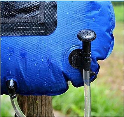 Gocher Bolsa de Agua 20L para Exteriores Bolsa de Ducha Solar Plegable de PVC de 5 galones Ducha port/átil para Acampar Bolsa de ba/ño con term/ómetro