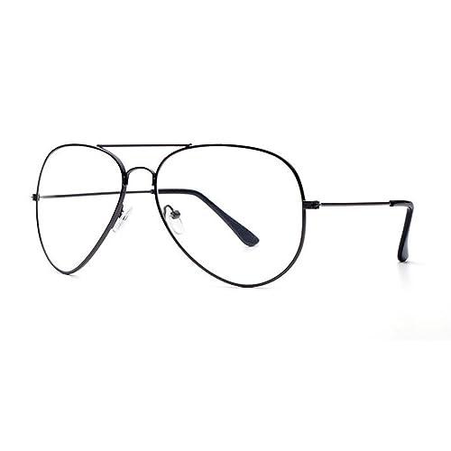 Unisex Retro Pilot Aviator Eyeglasses Metal Frame Clear lens Vintage Fashion Glasses Plain Eyewear for Men and Women