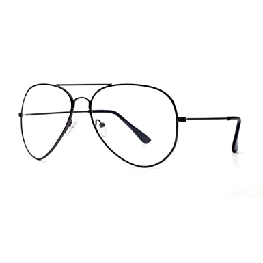 975b5b7d5d Unisex Retro Pilot Aviator Eyeglasses Metal Frame Clear lens Vintage Fashion  Glasses Black  Amazon.co.uk  Clothing