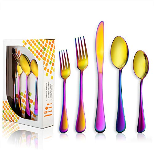 Golden Rainbow Silverware Set, HaWare 20-Piece 100% Quality Stainless Steel Flatware Cutlery Set, Colorful Knives/Spoons/Forks, Service for 4, Modern Design, Dishwasher Safe (Color titanium plating)