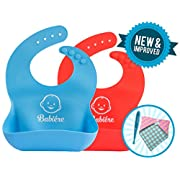 Babiere Soft Silicone Bib is Gentle on Baby - Large Crumb Catcher Pocket Stays Open - Waterproof Bib Easily Cleans and Fast Drying - Adjustable Snaps Fit Infants and Toddlers - Blue and Red - Set of 2