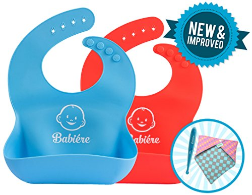 Babiere Soft Silicone Bib is Gentle on Baby - Large Crumb Catcher Pocket Stays Open - Waterproof Bib Easily Cleans and Fast Drying - Adjustable Snaps Fit Infants and Toddlers - Blue and Red - Set of 2 - Circumference Catchers