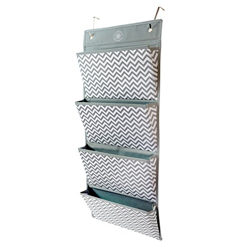 Hanging Bathroom Organizer for Storage, Fabric Mail and File Organizer, Wall, Kitchen, Bathroom, Office, Door, Bedroom, and Closet Organizer, Shelf Wall Mount (Chevron) by Chubberroo