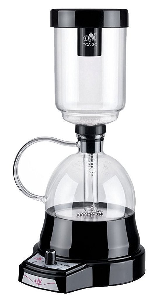 Diguo New Generation Electric Siphon / Syphon Coffee Maker, Vacuum Coffee Brewer, Slow Brew, Bold Flavor. No Alcohol Burner Needed, Easy and Safe to Use. Black. 3 Cups. by Diguo