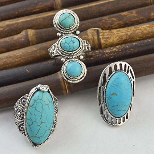 Baoblaze Bague Large Turquoise Sculpt/é Rimous Ovale Tib/étaine Argent R/églable Anneau Femmes