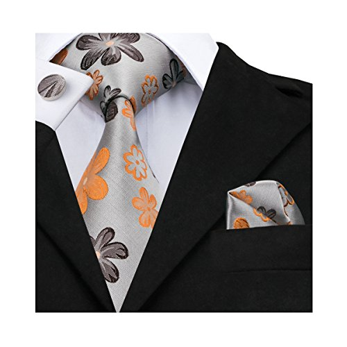 Barry.Wang Orange Ties Necktie Hanky Cufflinks Set Woven