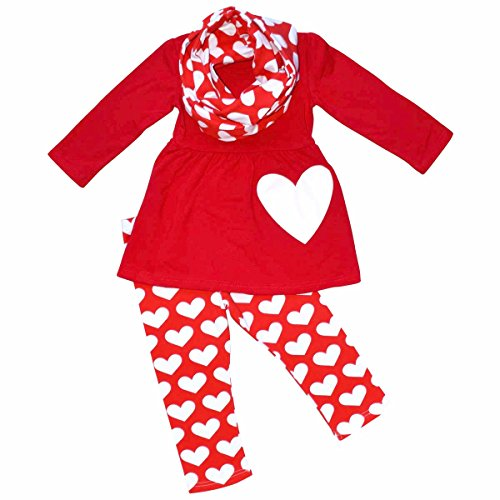 Unique Baby Girls Valentine's Day Double hearts Legging Set (2T/XS, Red)