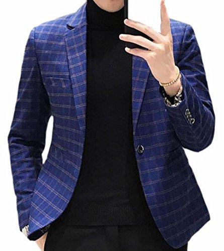 Jaycargogo Men's Fashion Slim Fit One Button Plaid Suit Blazer Jacket Blue XL