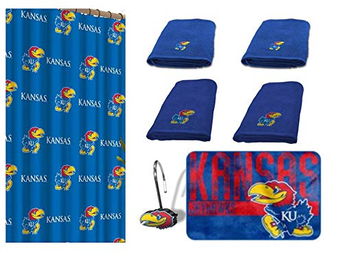 - NCAA Kansas Jayhawks 18 Piece Bath Ensemble: Set Includes 1 Shower Curtain, 12 Shower Hooks, 2 Bath Towels, 2 Hand Towels, and 1 Bath mat