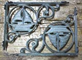 New 8 Cast Iron by YourLuckyDecor NAUTICAL SAILBOAT Brackets Garden Braces Shelf Bracket PIRATES SHIP