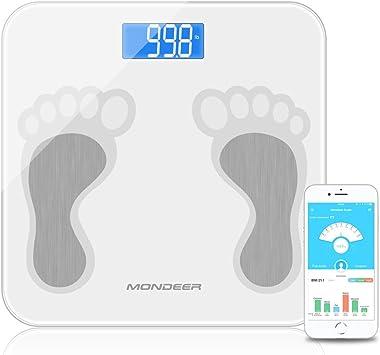 Báscula de grasa corporal analizador de composición corporal con aplicación de smartphone, escala digital inteligente para peso corporal, grasa agua masa muscular masaje baño: Amazon.es: Salud y cuidado personal