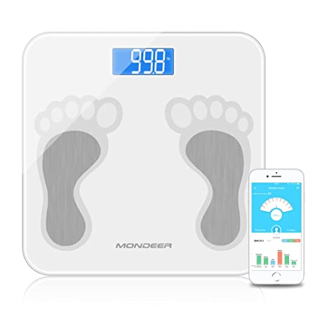 Báscula de grasa corporal analizador de composición corporal con aplicación de smartphone, escala digital inteligente para peso corporal, grasa agua ...