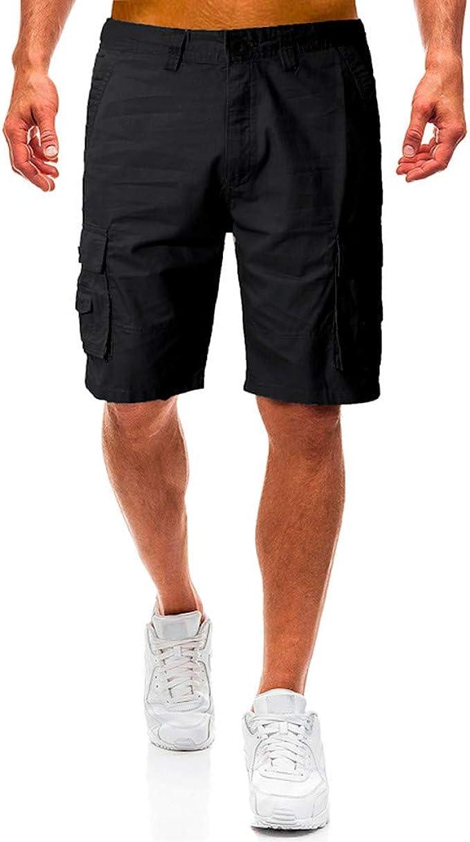 Mens Cargo Shorts Tactical Work Hiking Twill Expandable Waist Big Tall Black
