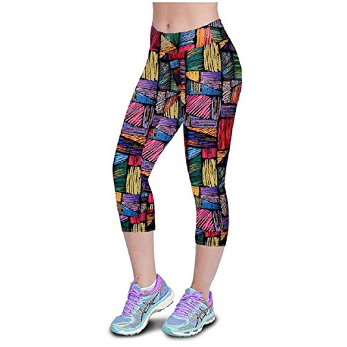 Tonsee Fashion High Waist Fitness Yoga Sport Pants Printed Stretch Cropped Leggings (M/27, A)