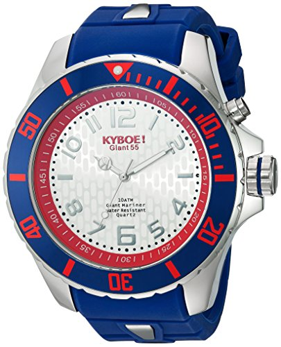KYBOE! 'Power' Quartz Stainless Steel and Silicone Casual Watch, Color:Blue (Model: KY.55-046.15)