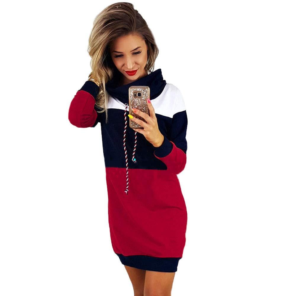 Women Hoodie Dress, Vanvler Ladies [ Long Sleeve Bodycon Short Mini Dress ] Scarf Collared Slim Sundress (XL =US 10, Red)