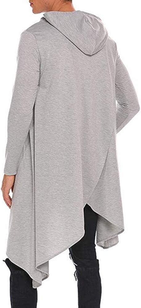 Fashion Irregular Long Sleeve Hooded Pullover Men Casual Hoodie Sweatshirt Top