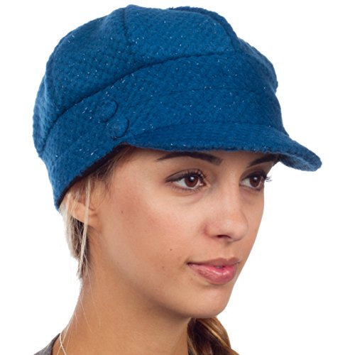 Sakkas EH505BC - Womens Wool Blend Newsboy / Cabbie Winter Hat / Cap with Buttoned Detail - Blue/One Size