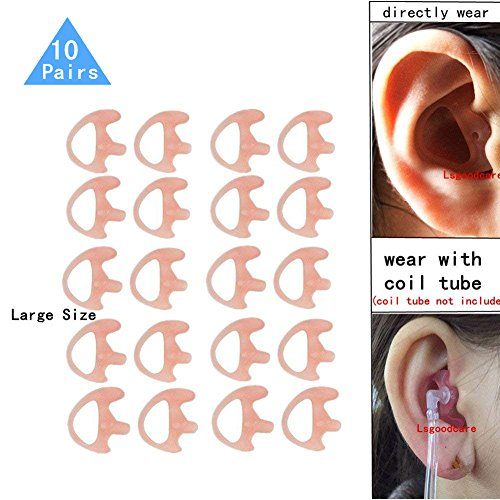Replacement Earmold Earbud (Left and Right Ear) for Two Way Radio Acoustic Coil Tube Earpiece - Open Ear Insert Earmould Earbuds Pink, Large, Soft Silicone Material, 10 Pairs, Lsgoodcare