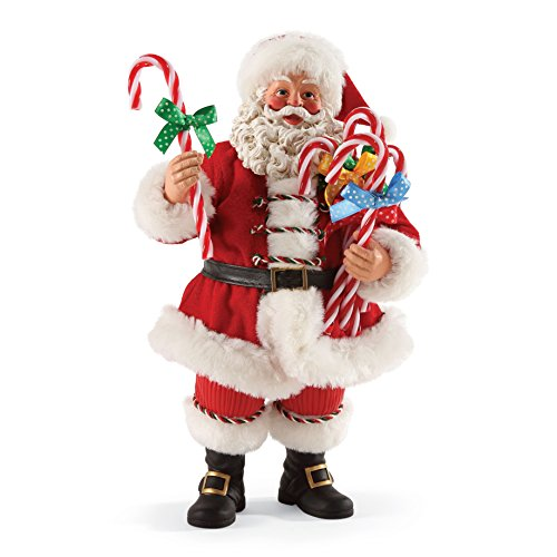 """Department 56 Possible Dreams Santa Claus """"Candy Cane Wishes"""" Clothtique Figurine, 10.5"""