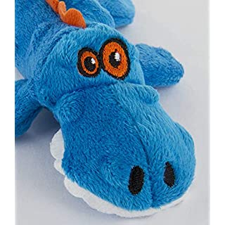 goDog Just For Me Gators with Chew Guard Tough Plush Dog Toy, Blue, Small