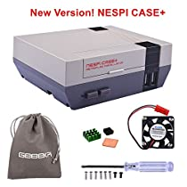 Retroflag NESPi Case+ Plus Functional POWER button with Safe Shutdown & Cooling Fan & Heatsinks & Flannel Bag for RetroPie Raspberry Pi 3/2 Model B & Raspberry Pi 3B+ (NESPI Case+)
