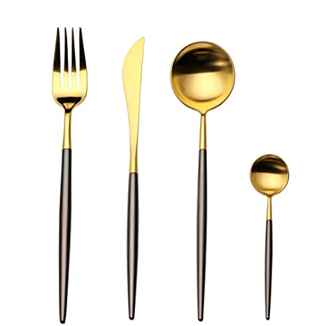 LEKOCH Cubiertos de acero inoxidable de 18/10, 4 piezas, que incluyen tenedores, cubiertos de cuchillos, cucharas para 1 (oro negro)