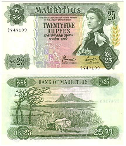 1967 MU EXOTIC JUMBO 1967 BANKNOTE w YOUNG QE2/DODO BIRDfrom MAURITIUS (BRITISH INDIAN OCEAN POSS) 25 Rupees VF-XF ()