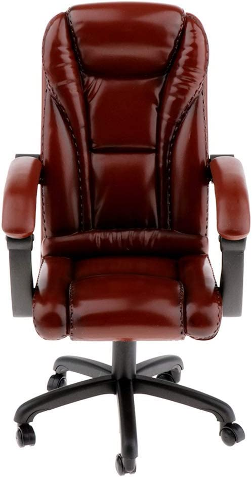 ZSMD 1/6 Chair, Swivel Chair Model, Backrest Chair Toy - Office Swivel Chair Boss, 1/6 Scale Furniture Dollhouse Room Decoration - Red