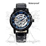 Gute Classic Steampunk Bling Automatic Mechanical Wristwatch See Through Skeleton Automatic Unisex Watch (Blue-Black) 7