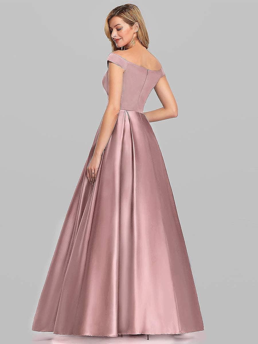 Ever-Pretty Vestito da Festa Donna Linea ad a dalla Spalla Satin Lungo 07934