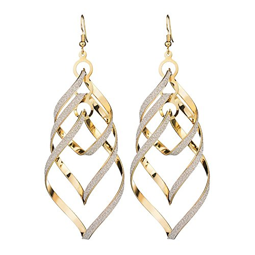Classic Double Linear Loops Design Twist Wave Drop & Dangle Earrings for women and Girls ()