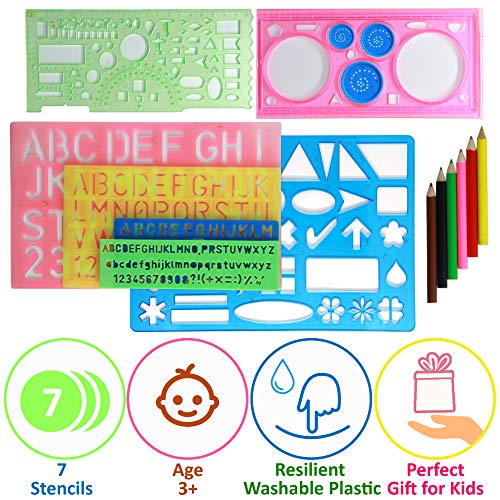 (Letter Stencils Set for Kids - 4 Alphabet Letters Number Stencils Large and Small 2 Geometric Figures Stencils and Spirograph - Plastic Kid Art Stencil for Painting - Preschool ABC Stencils for Craft )
