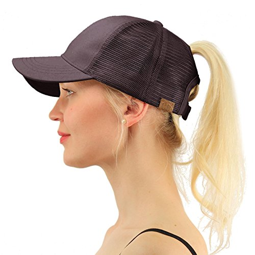 Walking Baseball (C.C Ponytail Messy Buns Trucker Ponycaps Plain Baseball Visor Cap Dad Hat Charcoal)