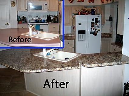 Amazon Com Instant Granite Counter Top Cover Venecia Gold 36 X 36 Kitchen Counter Tops Kitchen Dining